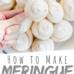 "PINTEREST IMAGE with words ""how to make Meringue Vanilla Cookies"" Meringue Vanilla Cookies piled on a plate with one being held above"
