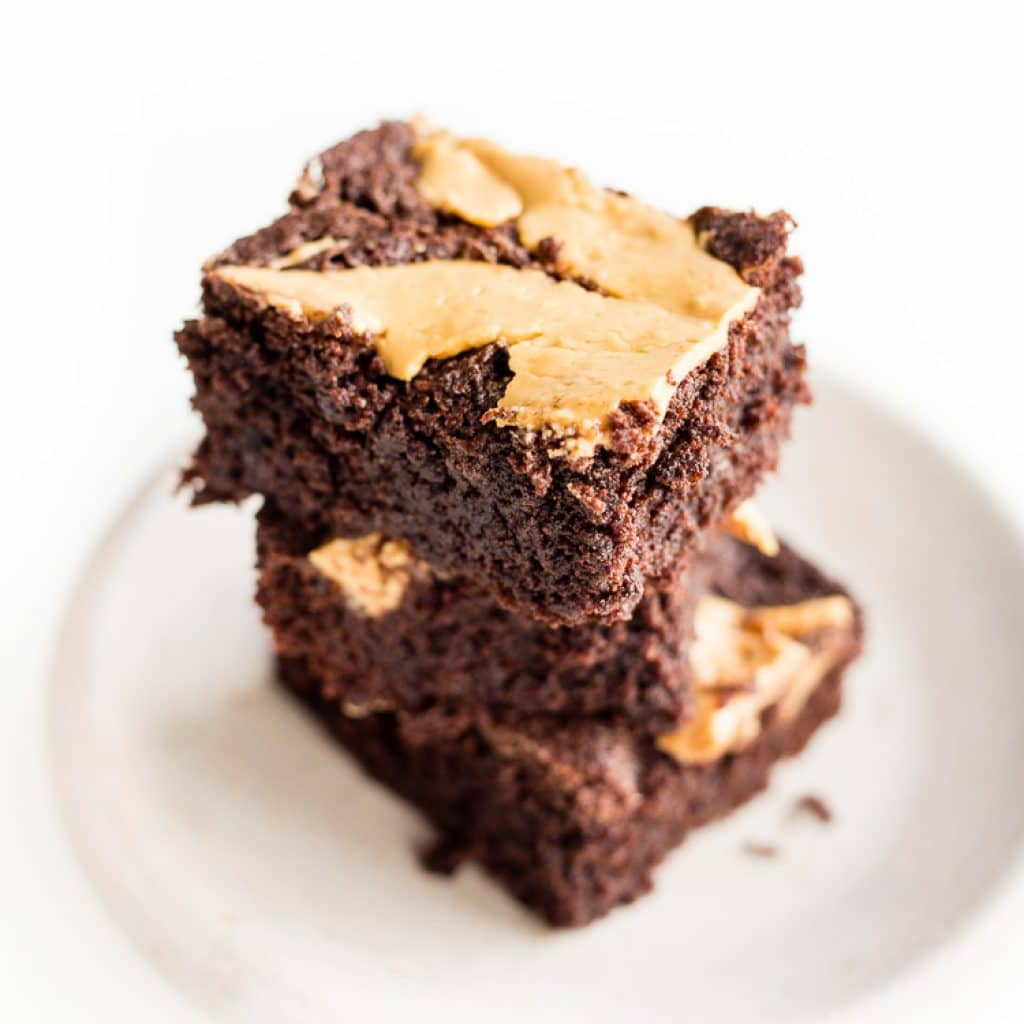Gluten Free Peanut Butter Brownies stacked three high