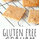 "PINTEREST IMAGE with words ""Gluten Free Graham Crackers"" Gluten Free Graham Crackers on a cooling rack"