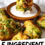 """PINTEREST IMAGE with words """"5 ingredient Broccoli Tots"""" broccoli tater tots being dipped into white sauce."""