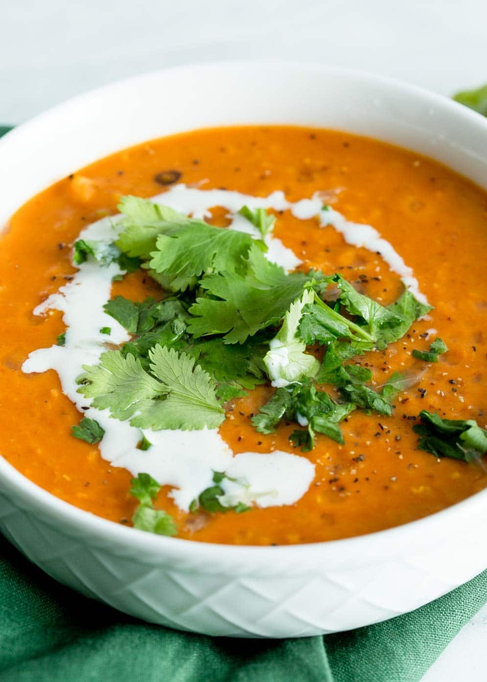 Instant Pot Red Lentil Soup in a white bowl