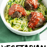 """PINTEREST IMAGE with words """"Vegetarian Meatless Meatballs"""" Vegetarian Meatless Meatballs on greens in a white bowl"""