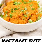 "PINTEREST IMAGE with words ""Instant Pot Lentil Curry"" Instant Pot Lentil Curry in a white bowl"