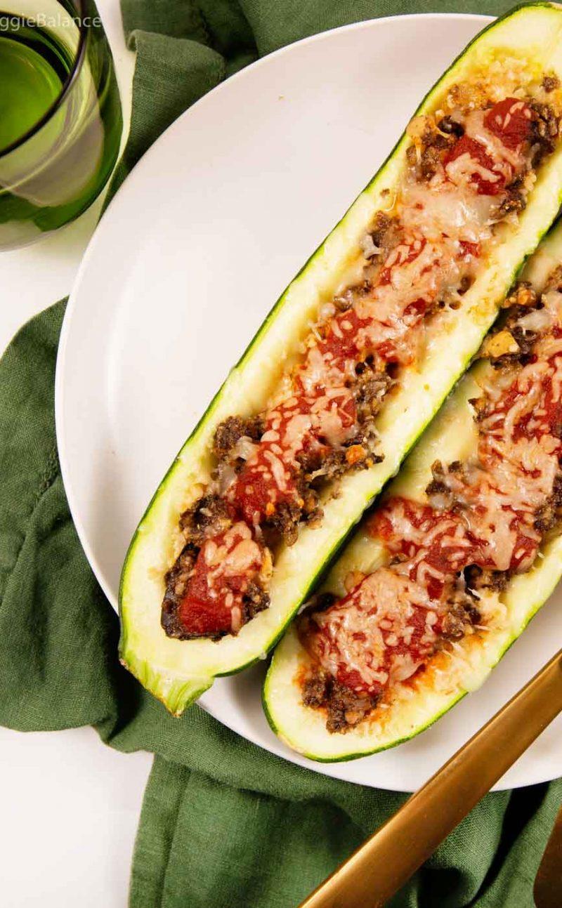 Italian Vegetarian Stuffed Zucchini Boats