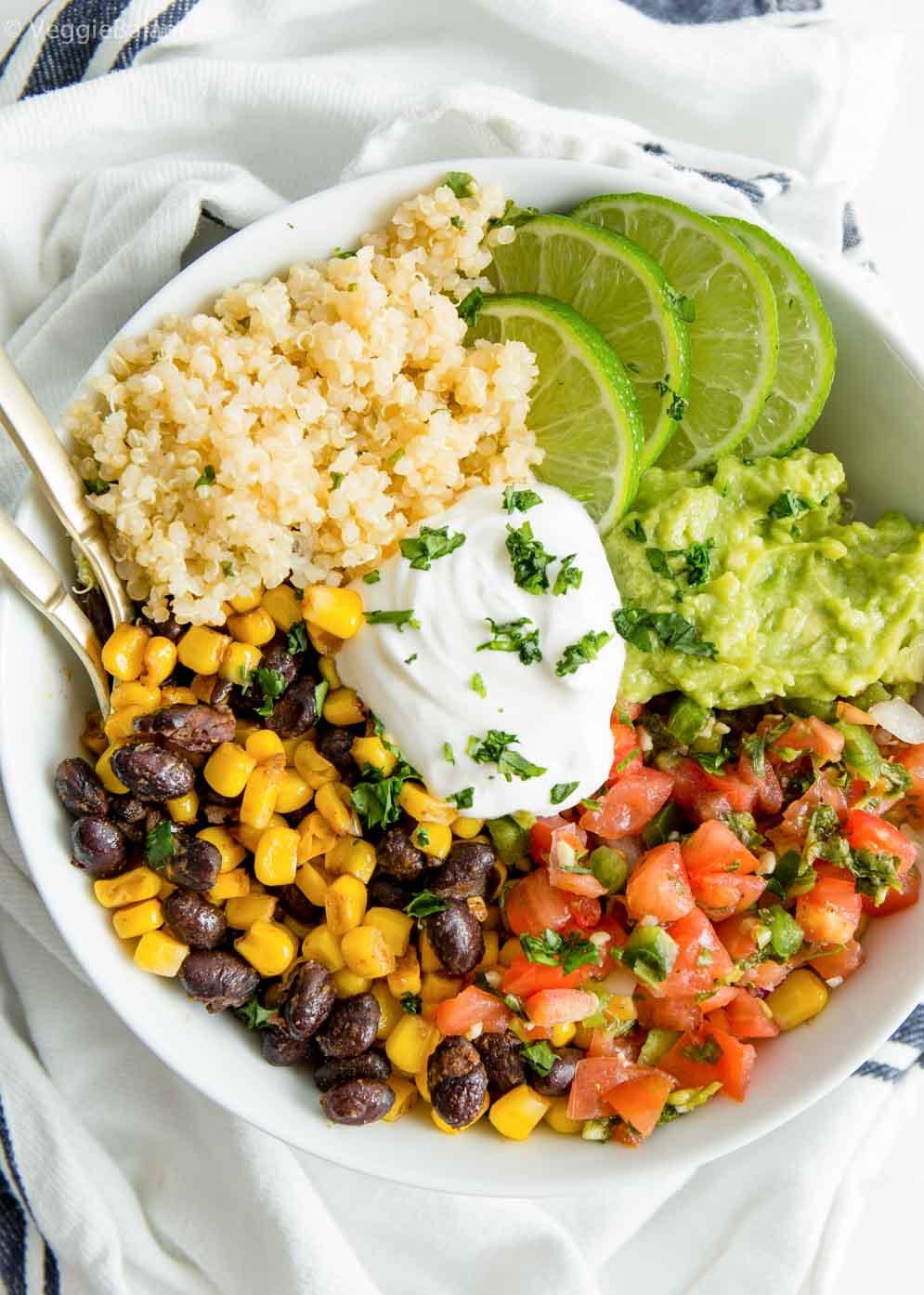Easy Vegan Burrito Bowl built with white towel