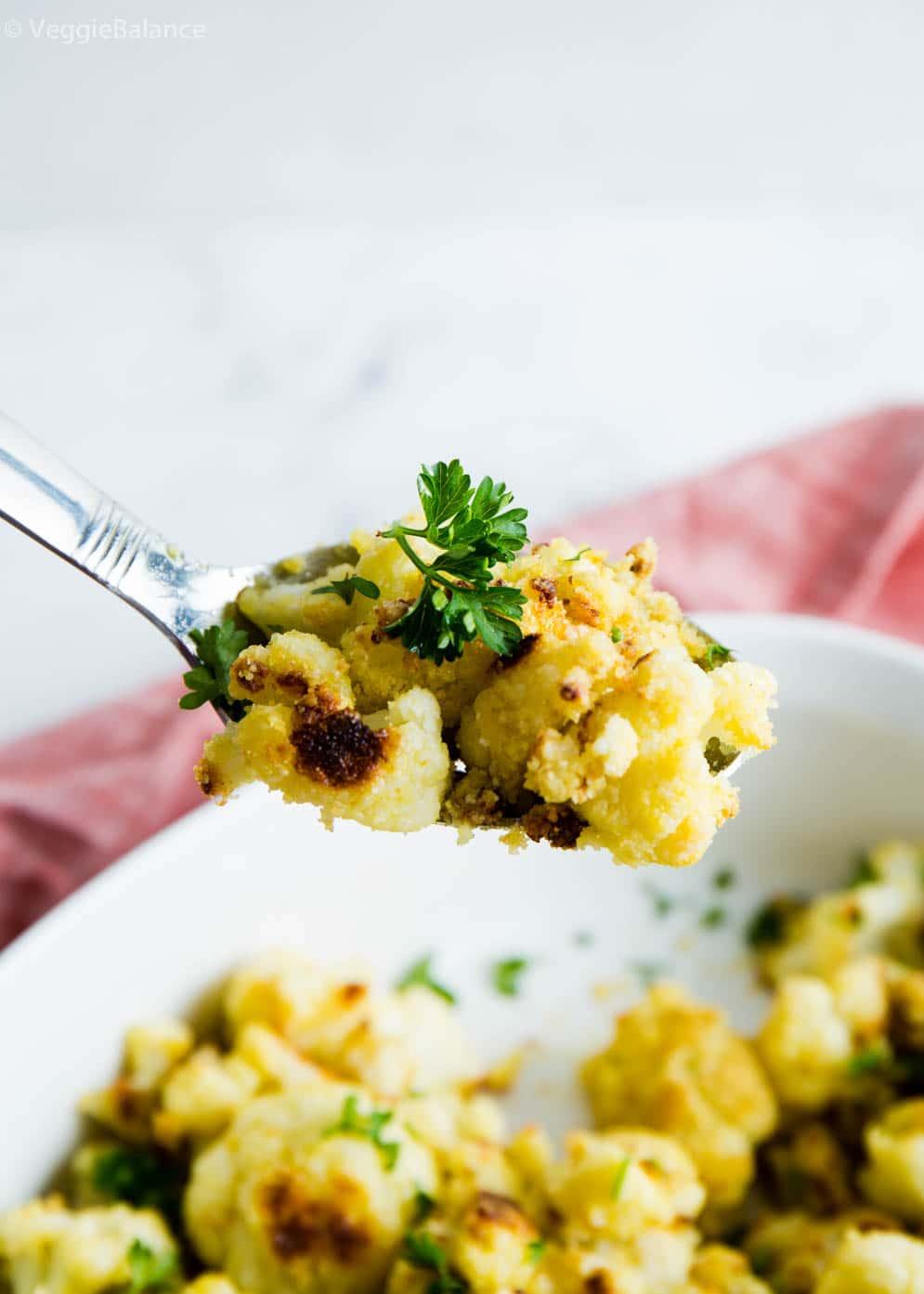 Vegan Roasted Cauliflower on spoon