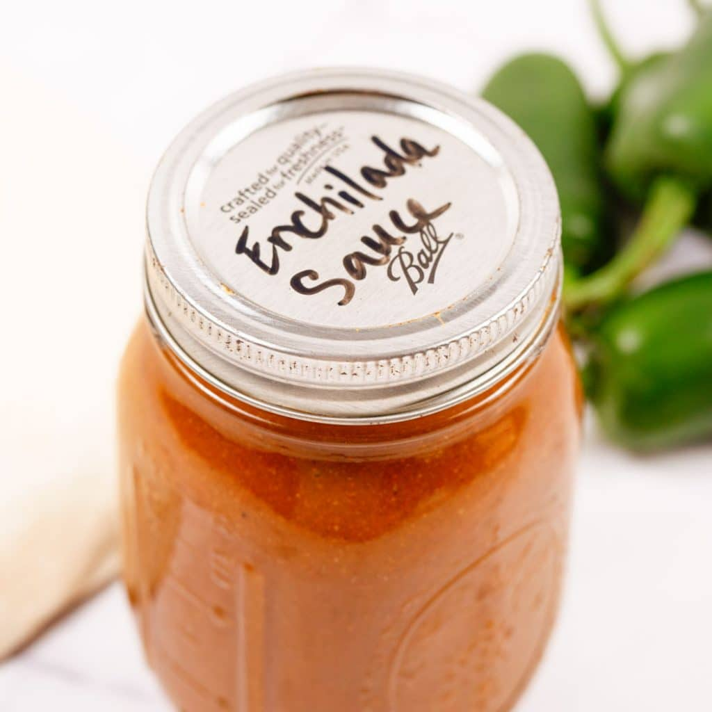 Homemade Enchilada Sauce in a mason jar