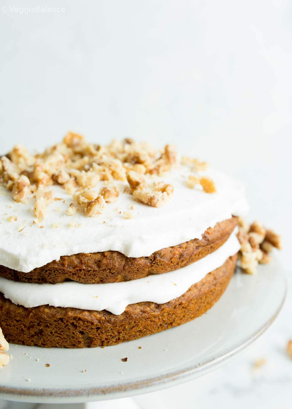 Vegan and Gluten-Free Carrot Cake on a cake dish