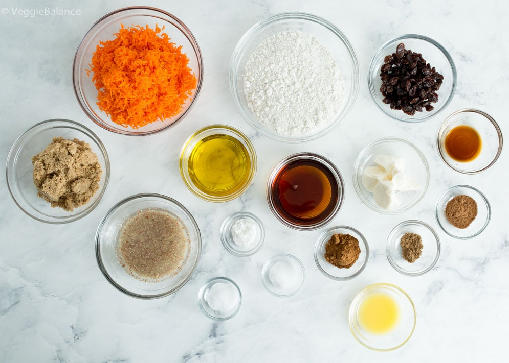 Ingredients you'll need for our Gluten-Free and Vegan Carrot Cake