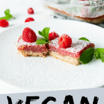 Vegan Lemon Bars Long Pin with text saying 'Vegan Lemon Bars'