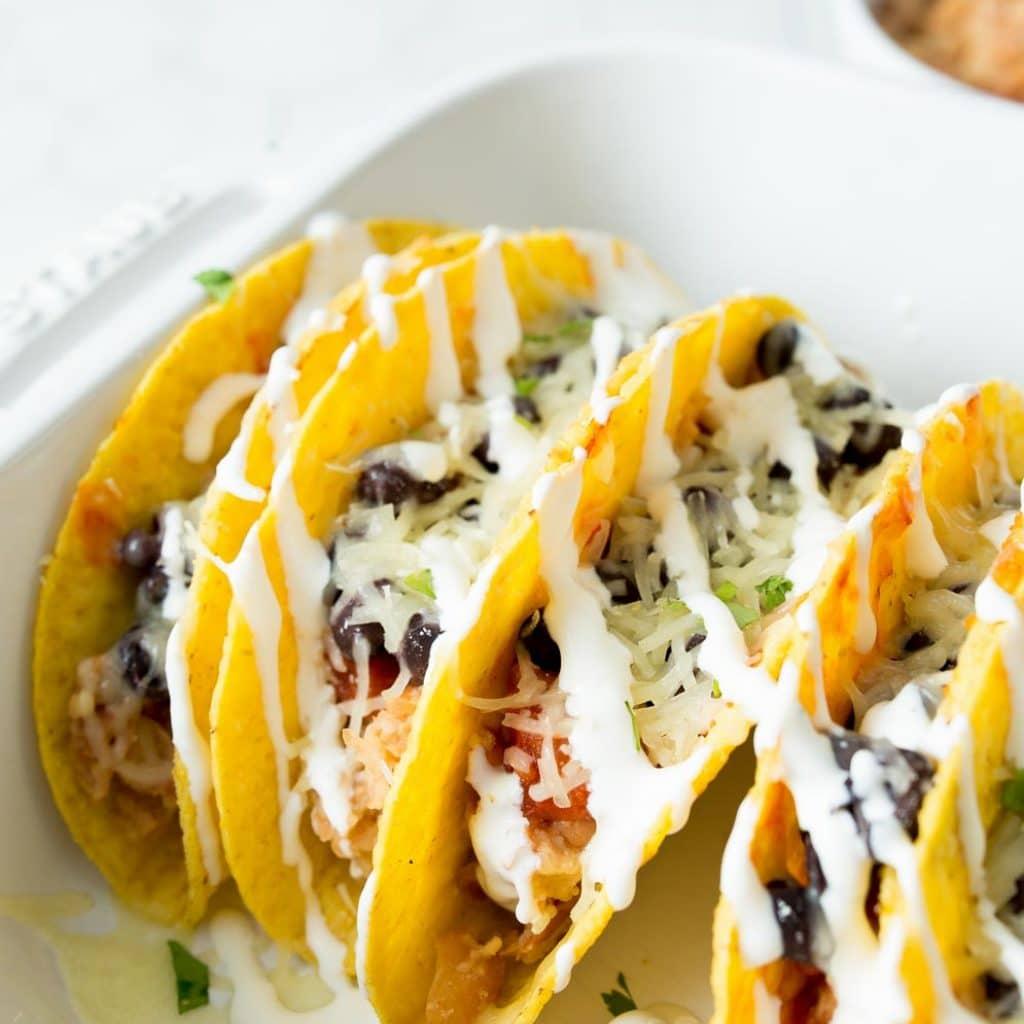 Baked Vegetarian Refried Bean Tacos
