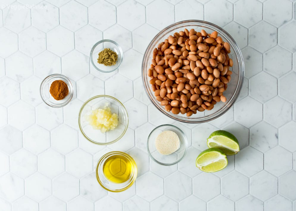 overhead shot of ingredients needed to make vegetarian refried beans