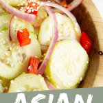 "PINTEREST IMAGE with words ""Asian Cucumber Salad"" Image Asian Cucumber Salad in wooden bowl."