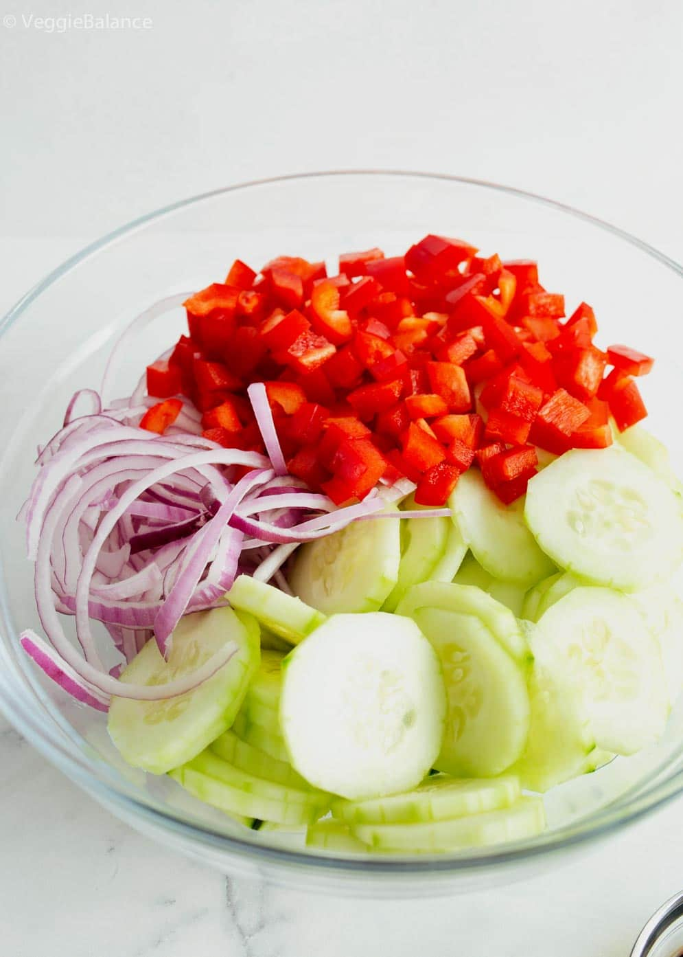 Bowl of asian cucumber salad ingredients