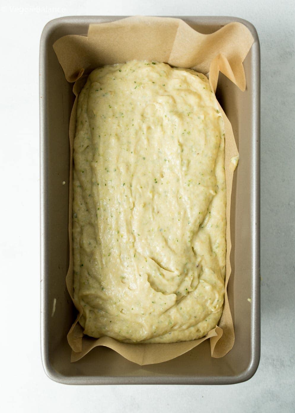 Vegan Gluten-Free Zucchini Bread Loaf Before Baking