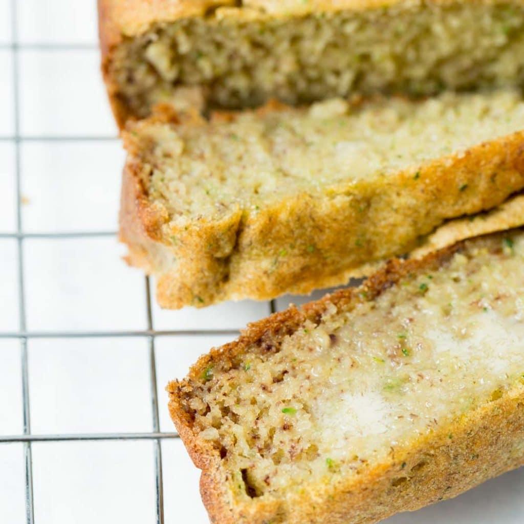 Vegan Gluten-Free Zucchini Bread Slices with Vegan Butter