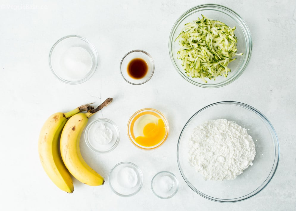 Ingredients needed for vegan gluten-free zucchini bread
