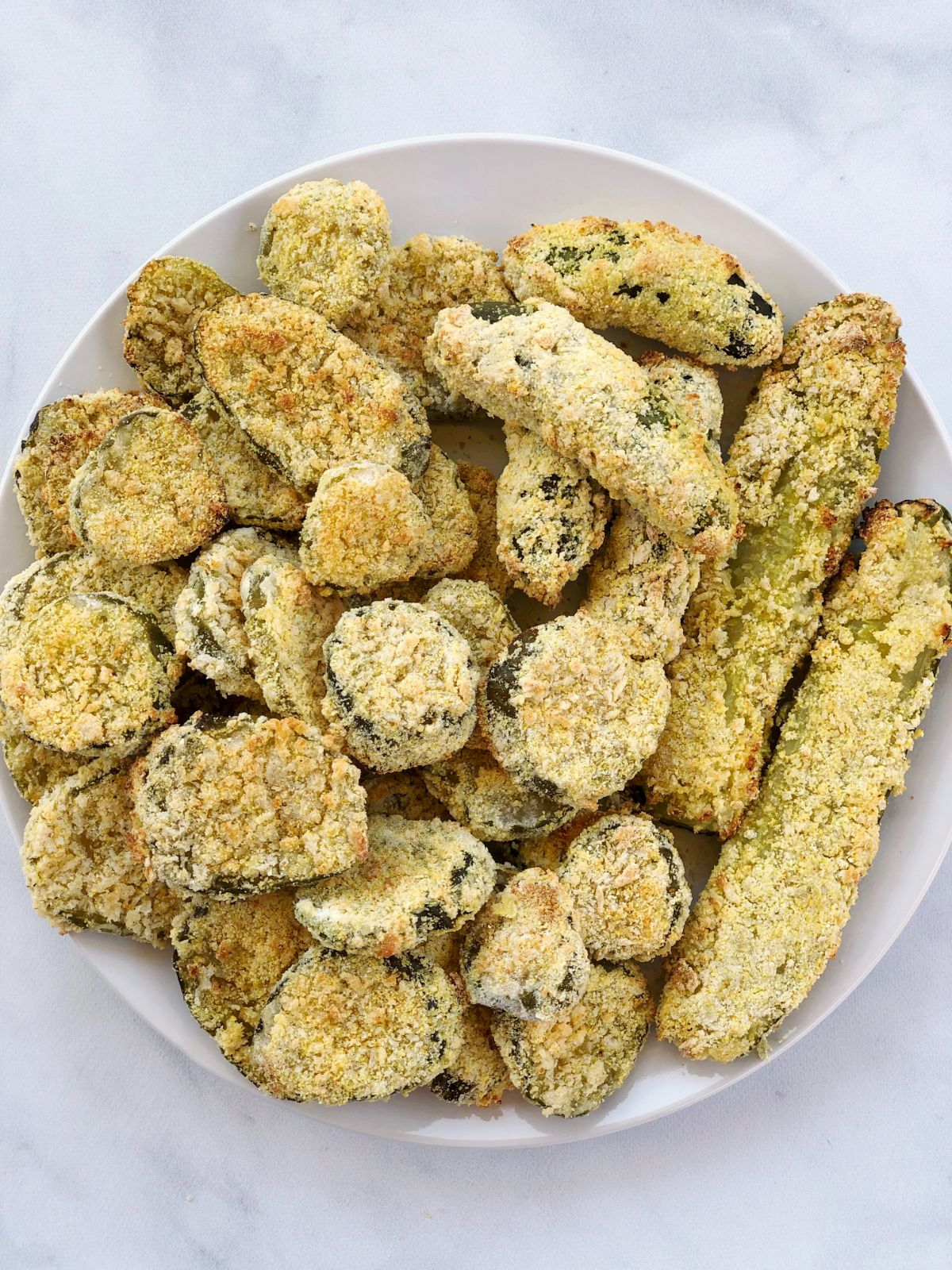a top view of a plate of fried pickles