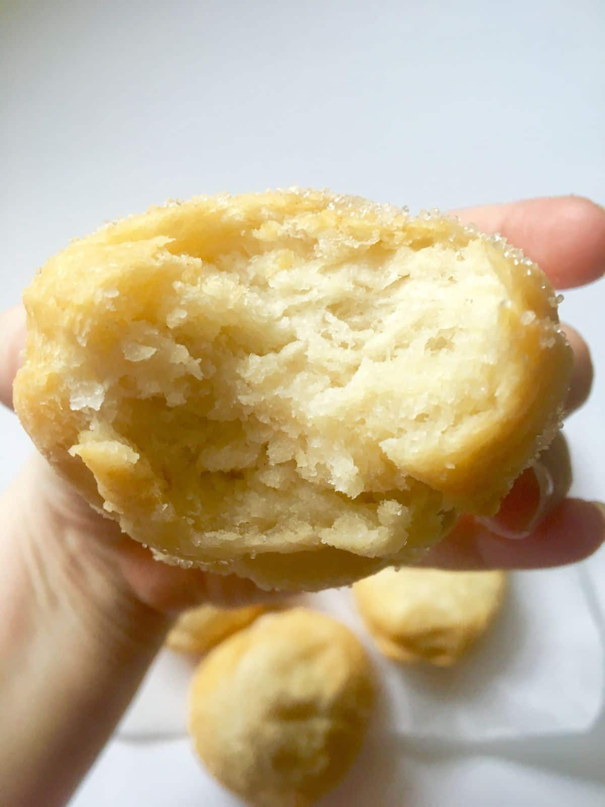 a hand holds a chinese donut toward the camera with a bite taken out of it