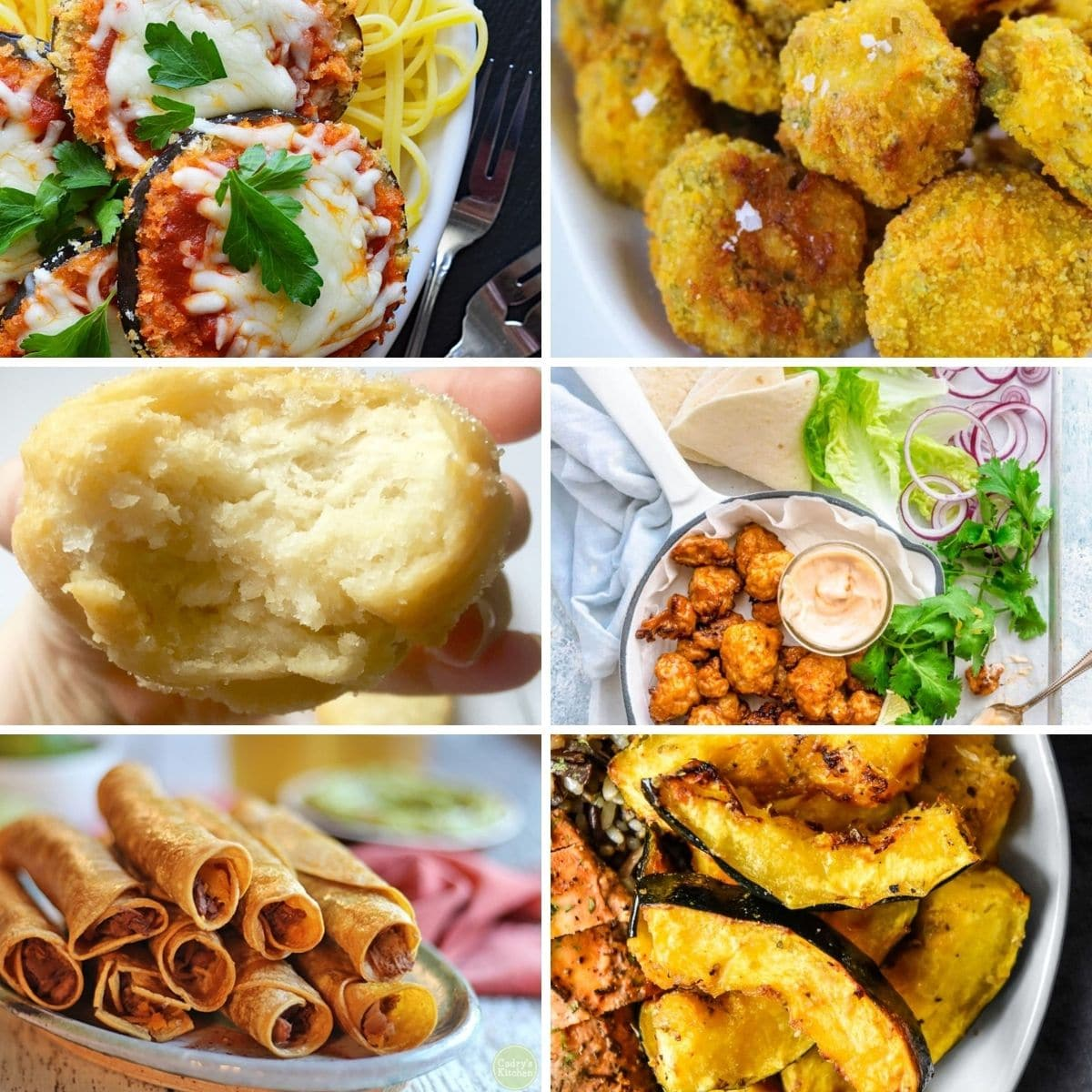Easy vegan air fryer recipes from the content formed in a collage
