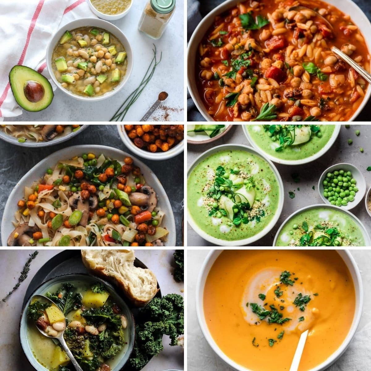 Collage photo featuring six vegan soups from the collection.